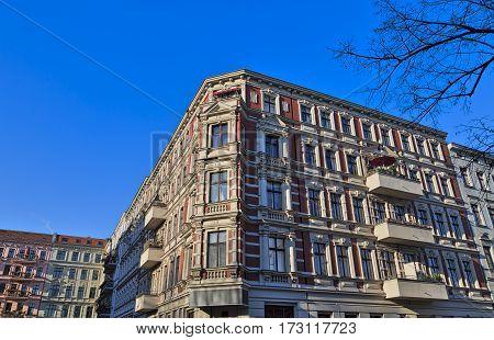 Facade Of An Old House In Berlin Kreuzberg