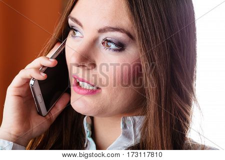 Serious Young Woman Make Phone Call.