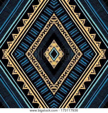 Ethnic blue and gold seamless pattern with lines and zigzags