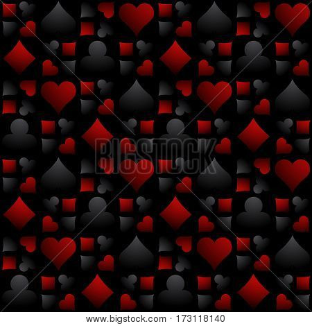 Seamless casino gambling background with black and red poker symbols vector illustration. Ideal for printing onto fabric and paper or scrap booking