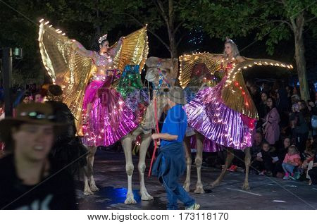 ADELAIDE, AU - FEB 18, 2017: Over 80 floats and 1500 Fringe artists entertain crowds at the opening parade for the 2017 Adelaide Fringe, the second largest annual arts festival in the world after the Edinburgh Fringe Festival. This year`s theme, `Mythical