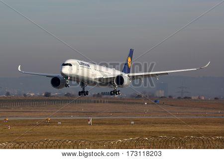 Lufthansa Airbus A350 Airplane Stuttgart Airport
