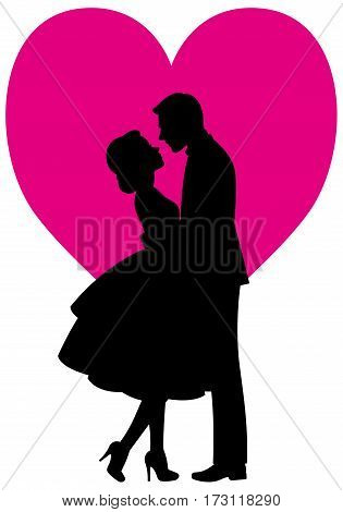 Black silhouette of lovers man and woman embracing on a white background vector illustration