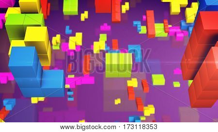 Old video game square. Colored line bricks game pieces. 3d rendering.