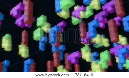 3d rendering of 3d blocks from vintage game on a faded screen with tv noise.