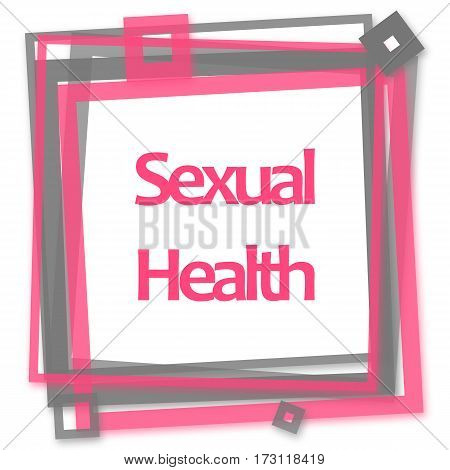 Sexual health text written over pink grey background.
