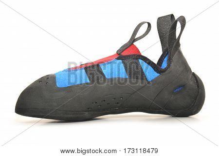 blue climbing shoe isolated on white background