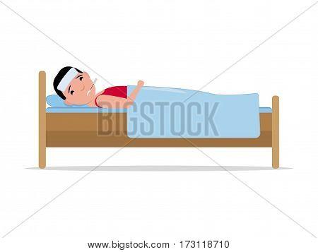 Vector illustration cartoon ill man lying in bed with influenza. Isolated white background. Boy patient with a thermometer sick flu. Flat design. Side view, profile. Male fever, temperature.