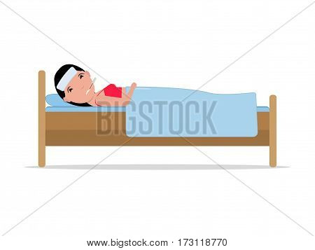 Vector illustration cartoon ill woman lying in bed with influenza. Isolated white background. Girl patient with a thermometer sick flu. Flat design. Side view, profile. Female fever, temperature.