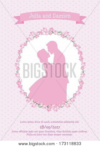 Invitation card for a wedding with a silhouette of a bride and groom in love vector illustration