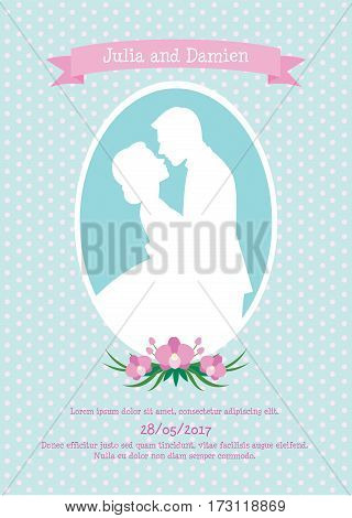 Vector illustration wedding Invitation card with a silhouette of a bride and groom in love