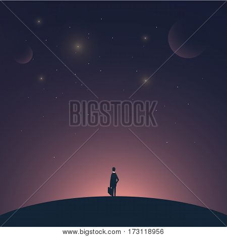 Businessman standing on a planet with space background. Symbol of business success, entrepreneur, growth, startup. Eps10 vector illustration.