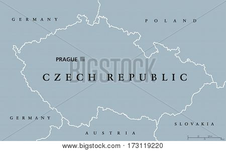 Czech Republic political map with capital Prague, national borders and neighbor countries. Also Czechia, a landlocked nation state in Central Europe. Gray illustration with English labeling. Vector.