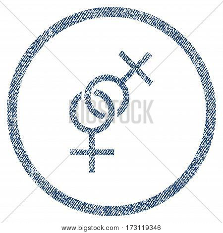 Lesbian Love Symbol textured icon for overlay watermark stamps. Blue jeans fabric vectorized texture. Rounded flat vector symbol with dust design.