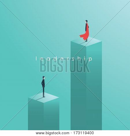 Business leadership vector concept with leader as superhero. Eps10 vector illustration.