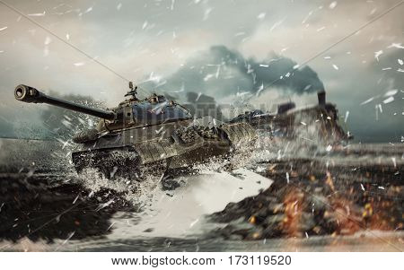 Soviet battle tank on the background of the burning locomotive attacked in the cold winter