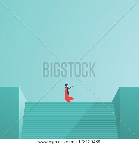 Businesswoman superhero standing on top of stairs pointing in direction. Symbol of business vision, leadership, power. Eps10 vector illustration.