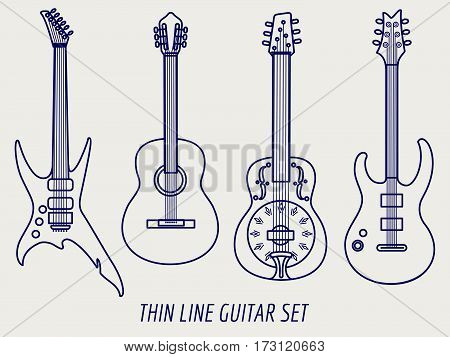 Thin line guitars design isolated on grey background. Vector illustration