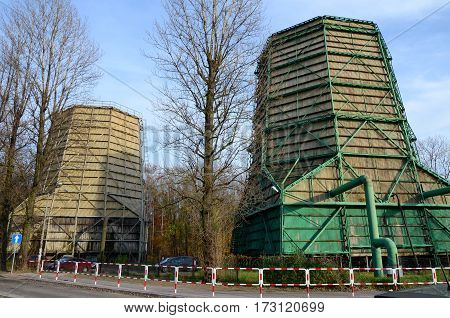Old industrial water cooling towers in Rybnik, Poland