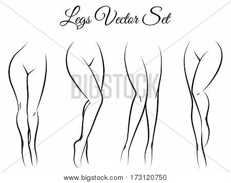 Woman legs vector set. Hand drawn woman legs isolated on white background