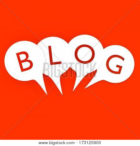 Word blog in white speech bubbles. Isolated 3D illustration on red background.