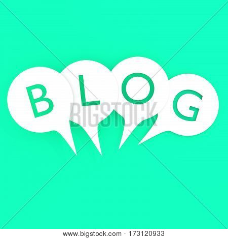 Word BLOG in speech bubbles. Isolated 3D illustration on light blue background.