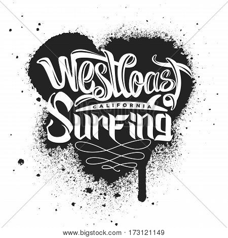 West coast Surfing Print for apparel vector illustration