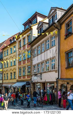 BAMBERG, GERMANY - Circa September, 2016: Historic Pedestrian street in Bamberg, Germany with medieval buildings