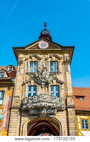 BAMBERG, GERMANY - Circa September, 2016: The historic exterior facade of the Rathaus or Town Hall in Bamberg, Germany, built on an island in the centre of the River Regnitz