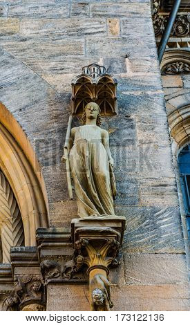 BAMBERG, GERMANY - Circa September, 2016: Statue of Synagoga at the Bamberg Cathedral. It is characterized by a blindfold over the eyes