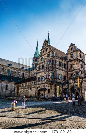 BAMBERG, GERMANY - Circa September, 2016: Medieval cathedral square in Bamberg, Germany with historic buildings