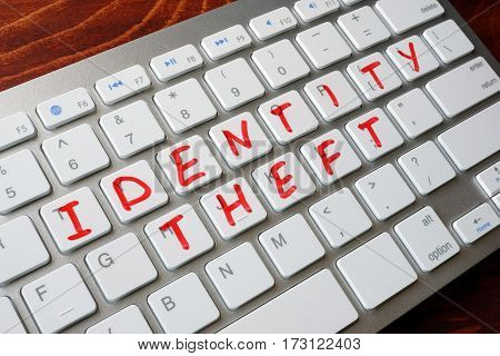 Identity Theft written on a computer keyboard.