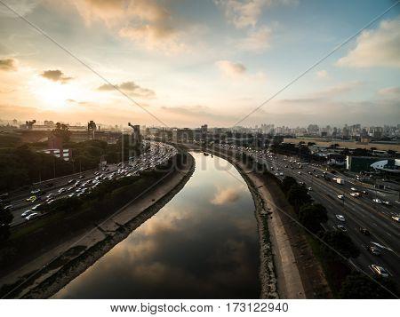 Aerial View of Marginal Tiete, Sao Paulo, Brazil