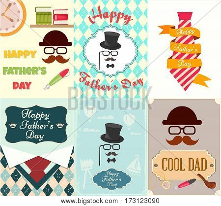 Set posters greeting cards Happy Father's Day Vector illustration