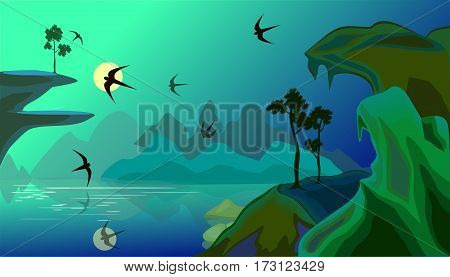 Vector landscape with lake in mountains, gulls, pines and their reflection