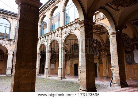 BOLOGNA ITALY -FEBRUARY 08 2017: courtyard of Archiginnasio palace University of Bologna