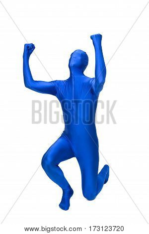 Mysterious blue man in morphsuit rejoice isolated on white