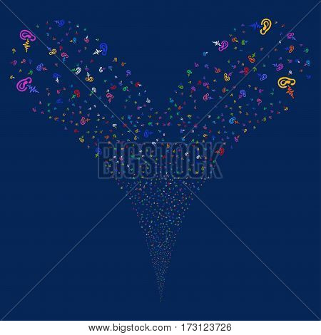 Hearing fireworks stream. Vector illustration style is flat bright multicolored iconic symbols on a blue background. Object double fountain constructed from random design elements.