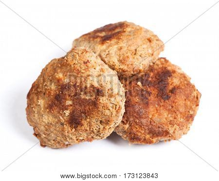 Group of prepared small hand made cutlets isolated over white