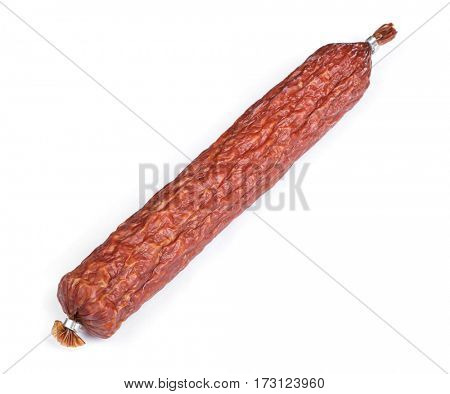 Whole salami sausage isolated on white