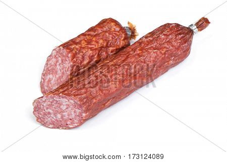 Cutted salami sausage isolated on white