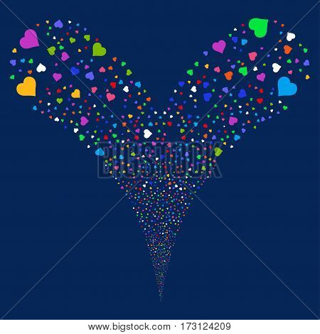 Heart fireworks stream. Vector illustration style is flat bright multicolored iconic symbols on a blue background. Object double fountain done from random icons.