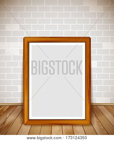 Empty wooden frame on wooden floor with brick wall background - place for your text photo or illustration. Vector illustration.