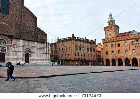 BOLOGNA ITALY -FEBRUARY 08 2017: View of Piazza Maggiore and Palazzo del Podesta Bologna