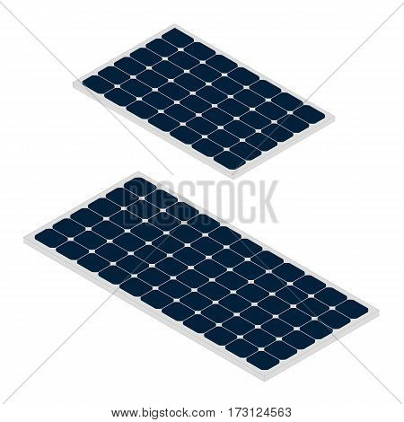 Solar panels isolated on white background. Green renewable energy produced from sun. Ecological alterntive energy. Flat vector illustration in isometric style.