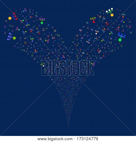 Hierarchy fireworks stream. Vector illustration style is flat bright multicolored iconic symbols on a blue background. Object double fountain combined from random pictographs.