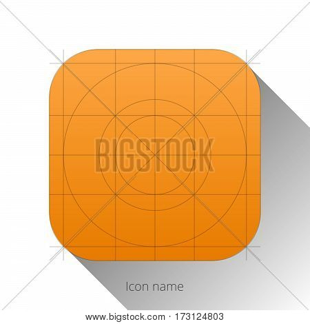 Application icon template with Guidelines, grids. Blank application icon for web and mobile. Vector isolated button