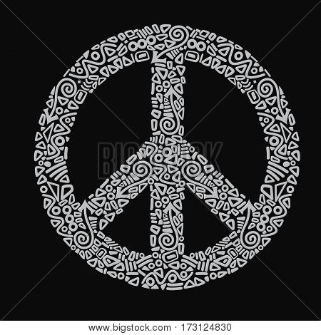 Peace sign vector illustration hippie white on black