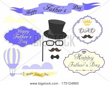 Elements for greeting cards and posters Happy Father's Day Vector illustration