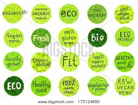 Collection of 100% organic natural biofarm healthy food labels. Badges for vegan cafe restaurant menu products packaging. Hand drawn vector templates.